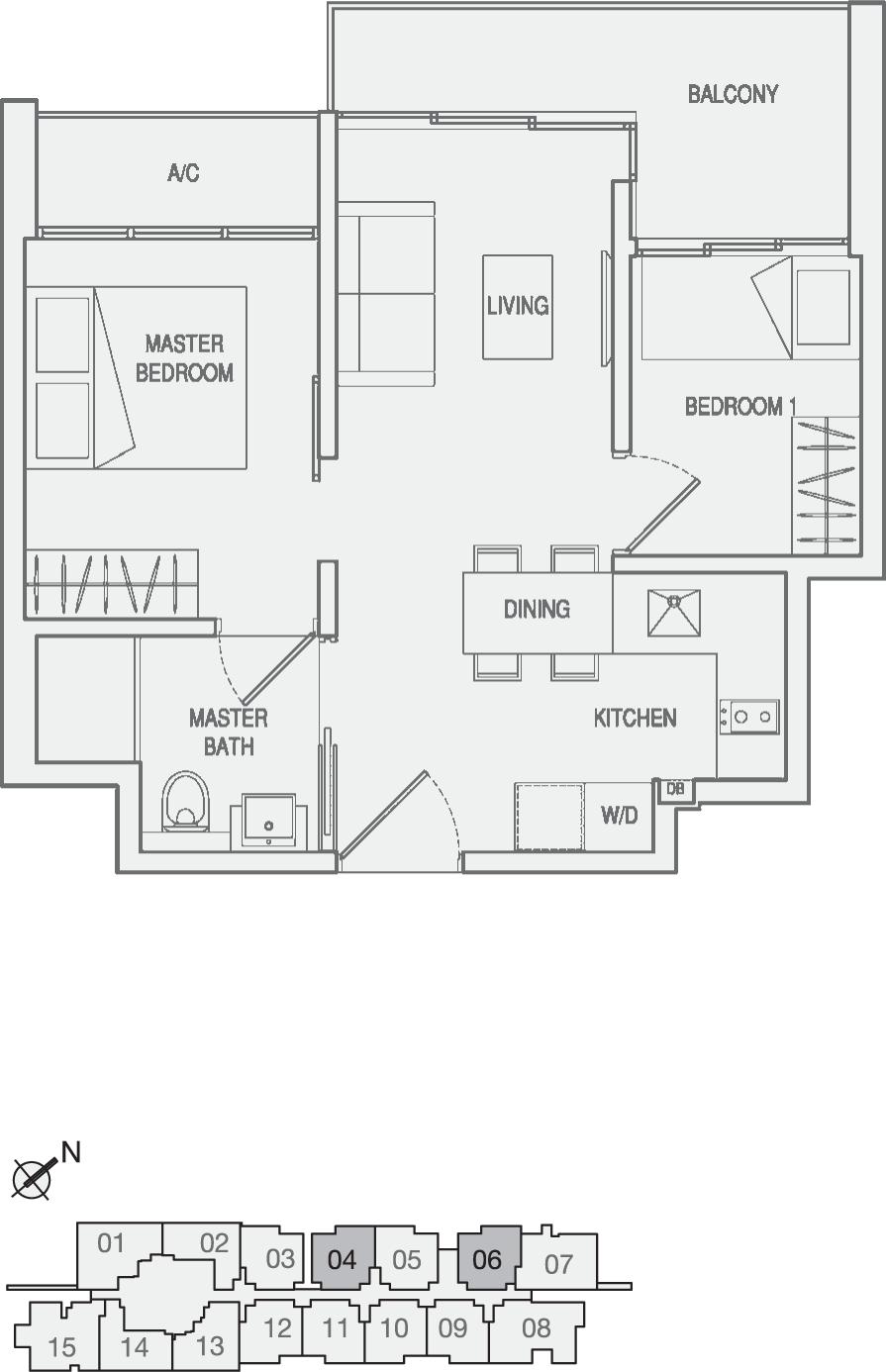 Type Type-A2(m) 2 Bedroom Floor Plan