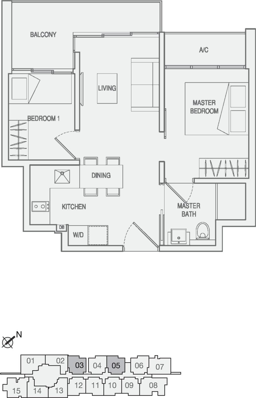 Type Type-A2 2 Bedroom Floor Plan