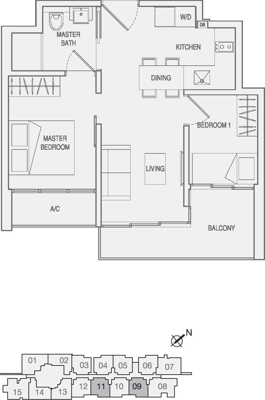 Type Type-A3(m) 2 Bedroom Floor Plan