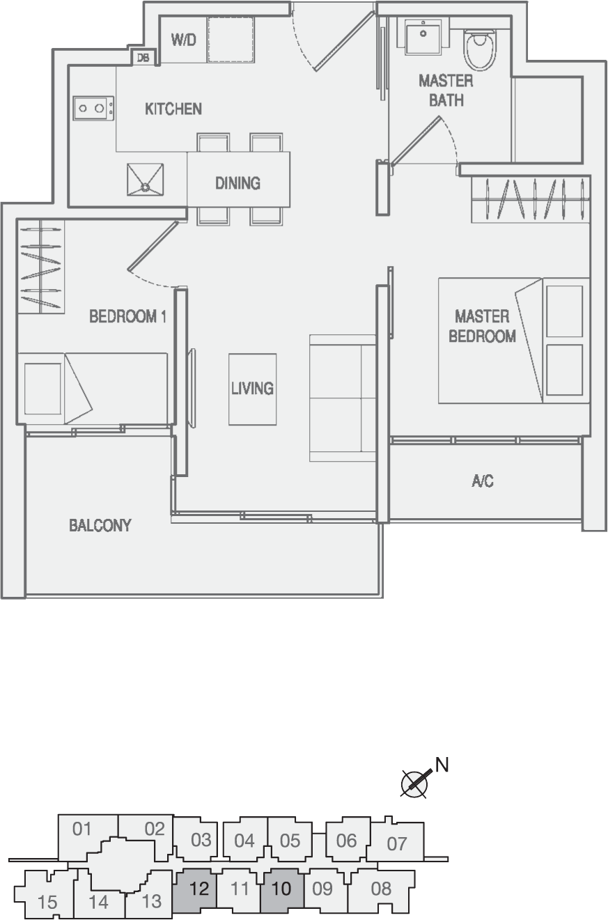 Type Type-A3 2 Bedroom Floor Plan