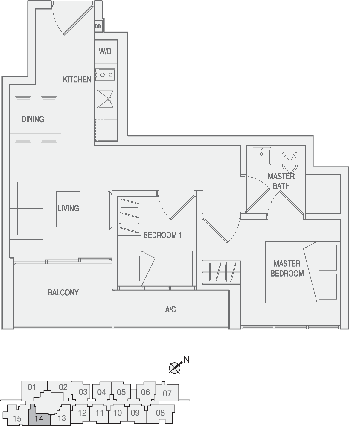 Type Type-A4 2 Bedroom Floor Plan