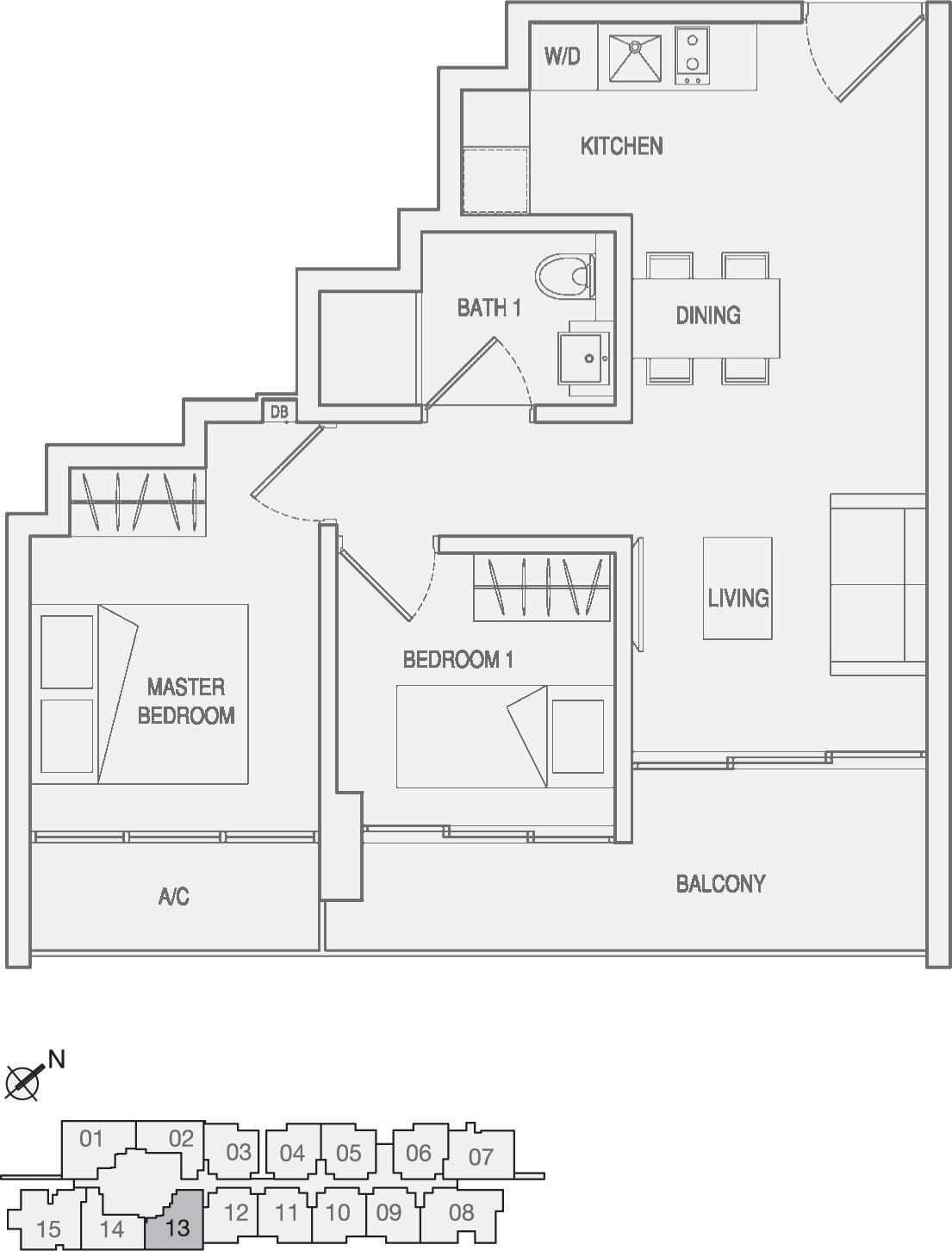 Type Type-A5 2 Bedroom Floor Plan