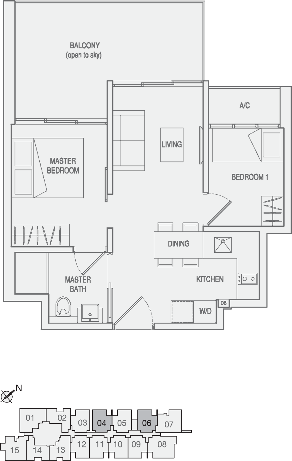 Type Type-C1(m) 2 Bedroom with Balcony Floor Plan