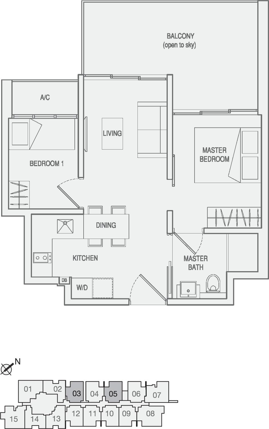 Type Type-C1 2 Bedroom with Balcony Floor Plan
