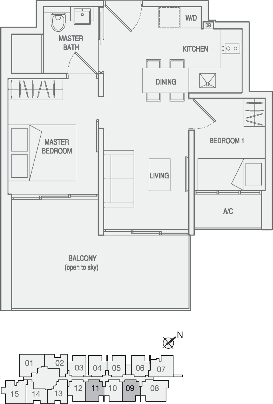 Type Type-C2(m) 2 Bedroom with Balcony Floor Plan