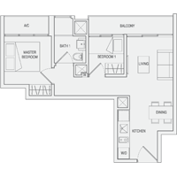Type A1 2-Bedroom Floor Plan