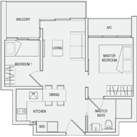 Type A2 2-Bedroom Floor Plan