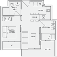 Type A3(m) 2-Bedroom Floor Plan