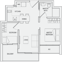 Type A3 2-Bedroom Floor Plan