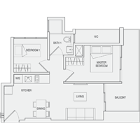 Type A6 2-Bedroom Floor Plan