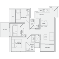 Type B1 3-Bedroom Floor Plan