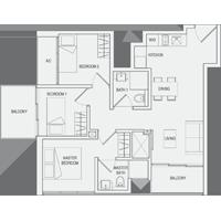 Type B1 3-Bedroom Floor Plan