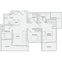 Type B2 3-Bedroom Floor Plan