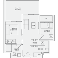 Type C1(m) 2-Bedroom-with-Balcony Floor Plan