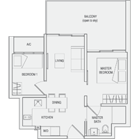 Type C1 2-Bedroom-with-Balcony Floor Plan