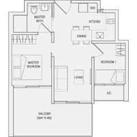 Type C2(m) 2-Bedroom-with-Balcony Floor Plan