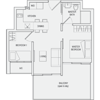 Type C2 2-Bedroom-with-Balcony Floor Plan