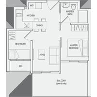 Type C2 2-Bedroom-with-Balcony Floor Plan