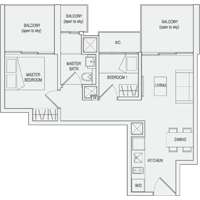 Type C3 2-Bedroom-with-Balcony Floor Plan