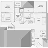 Type C3 2-Bedroom-with-Balcony Floor Plan