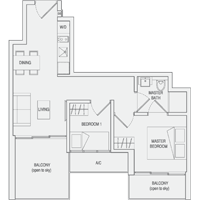 Type C4 2-Bedroom-with-Balcony Floor Plan
