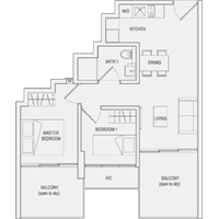 Type C5 2-Bedroom-with-Balcony Floor Plan