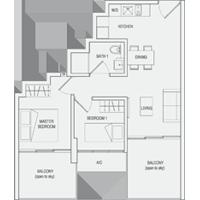 Type C5 2-Bedroom-with-Balcony Floor Plan