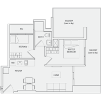Type C6 2-Bedroom-with-Balcony Floor Plan