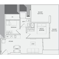 Type C6 2-Bedroom-with-Balcony Floor Plan