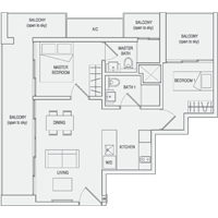 Type C7 2-Bedroom-with-Balcony Floor Plan