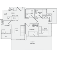 Type D1 3-Bedroom-with-Balcony Floor Plan