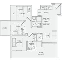 Type D2 3-Bedroom-with-Balcony Floor Plan