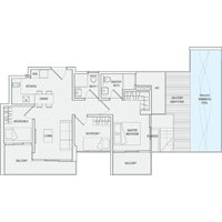 Type D3 3-Bedroom-with-Balcony Floor Plan