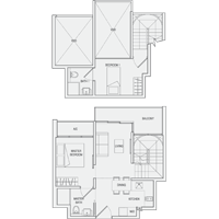 Type DP(m) Duplex-2-Bedroom Floor Plan