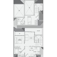 Type DP(m) Duplex-2-Bedroom Floor Plan