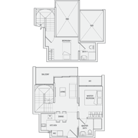 Type DP Duplex-2-Bedroom Floor Plan
